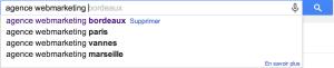 autocomplétion dans google search